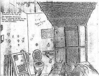 Blick zur Tür mit Klo und Schamwand